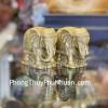 Song đế voi thần cõng mây tiền vàng đồng D290