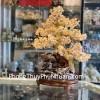 Cây thạch anh vàng khủng phong thủy luân đế gỗ đẹp KC100