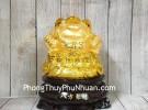 Thiềm thừ trên túi vàng lớn đế gỗ xoay LN090