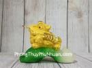 Thiềm thừ vàng kim sa ngậm xâu vàng trên lá cải LN107