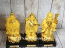 Tam đa phước lộc thọ vàng kim sa đế gỗ trung LN115