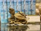 Rùa đầu rồng cõng con có chữ (4 tấc) D308
