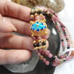 chuoi hong luc bao hoa xanh S6279 2 150x150 Chuỗi hồng lục bảo hợp kim hoa sen xanh S6279