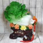 ln064 bap cai xanh khung mau don 150x150 Bắp cải xanh khủng trên bụi mẫu đơn đế gỗ LN064