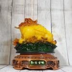 ln087 coc luu ly 2 150x150 Thiềm thừ vàng ngọc lưu ly trên bụi sen đế gỗ xoay lớn LN087