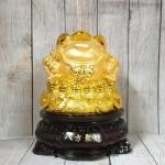 ln090 thiem thu tui vang 2 150x150 Thiềm thừ trên túi vàng lớn đế gỗ xoay LN090