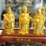 ln114 tam da vang 150x150 Tam đa phước lộc thọ vàng bóng trên đế gỗ LN114